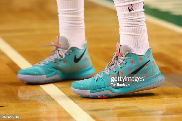 A detail of the shoes of Kyrie Irving of the Boston Celtics during the second half against the Denver Nuggets at TD Garden on December 13 2017 in...