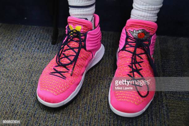 A detail of the shoes of MuhammadAli AbdurRahkman of the Michigan Wolverines during media day for the 2018 Men's NCAA Final Four at the Alamodome on...