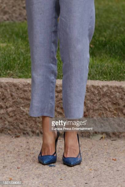 Detail of the shoes of Queen Letizia who attended a working meeting with members of the management team of Abertis and its Foundation and UNICEF...