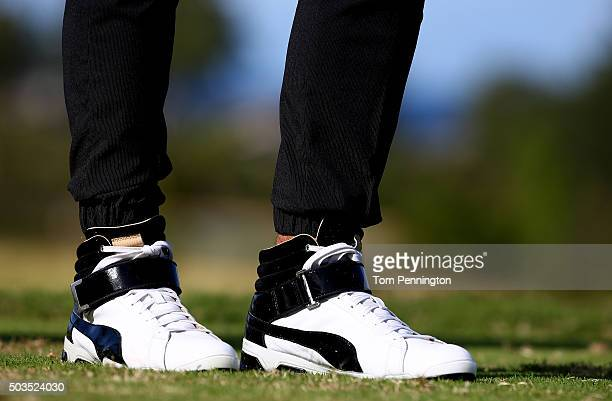 A detail of the shoes of Rickie Fowler during practice rounds prior to the Hyundai Tournament of Champions at the Plantation Course at Kapalua Golf...