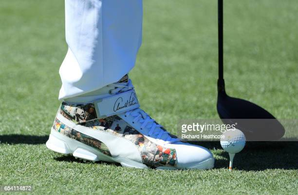 A detail of the shoes of Rickie Fowler of the United States during the first round of the Arnold Palmer Invitational Presented By MasterCard on March...