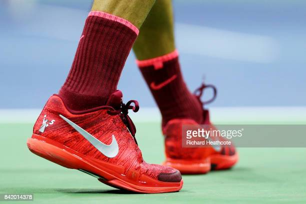 A detail of the shoes of Roger Federer of Switzerland as he plays against Feliciano Lopez of Spain during their third round Men's Singles match on...