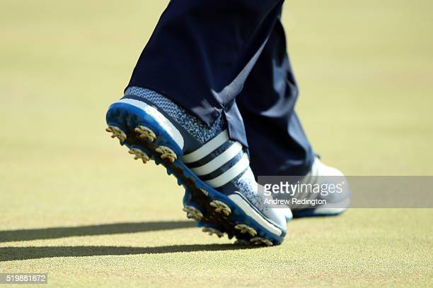 A detail of the shoes of Sergio Garcia of Spain during the second round of the 2016 Masters Tournament at Augusta National Golf Club on April 8 2016...