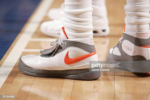 Detail of the shoes worn by Amare Stoudemire of the Phoenix Suns during the NBA game against the Dallas Mavericks at American Airlines Center on...