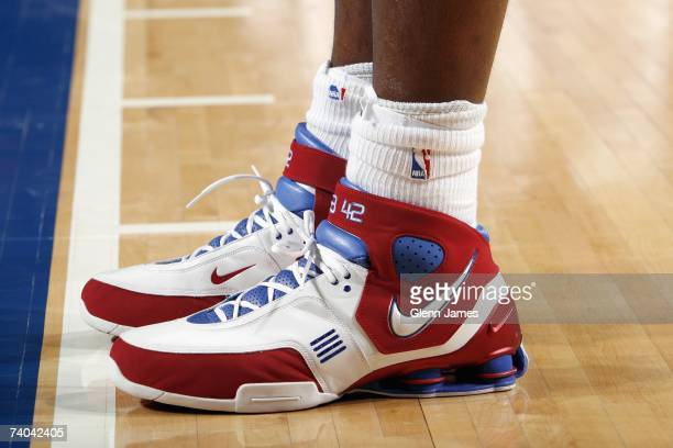 Detail of the shoes worn by Elton Brand of the Los Angeles Clippers during the NBA game against the Dallas Mavericks at American Airlines Center on...