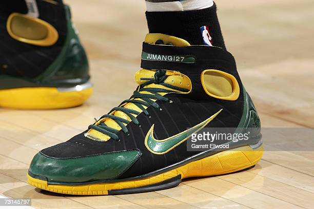 Detail of the shoes worn by Johan Petro of the Seattle SuperSonics during the NBA game against the Denver Nuggets on December 28 2006 at the Pepsi...