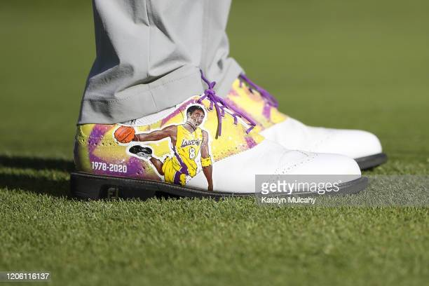 A detail of the shoes worn by Justin Thomas of the United States honoring former NBA star Kobe Bryant during the first round of the Genesis...