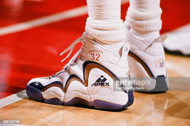 Detail of the shoes worn by Karl Malone of the Utah Jazz during the game against the Houston Rockets on March 1 1998 at Compaq Center in Houston Texas