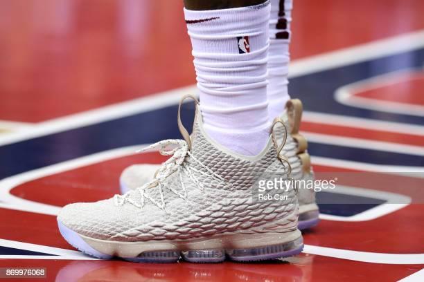 A detail of the shoes worn by LeBron James of the Cleveland Cavaliers against the Washington Wizards at Capital One Arena on November 3 2017 in...