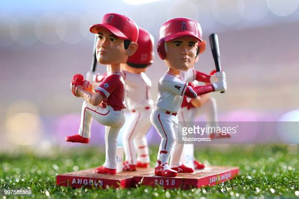 A detail of the Shohei Ohtani of the Los Angeles Angels bobblehead that was given to fans prior to a game against the Seattle Mariners at Angel...