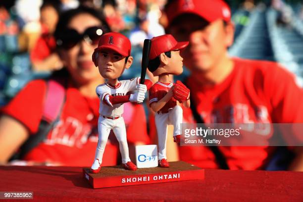 A detail of the Shohei Ohtani of the Los Angeles Angels of Anaheim bobblehead that was given to fans prior to a game against the Seattle Mariners at...