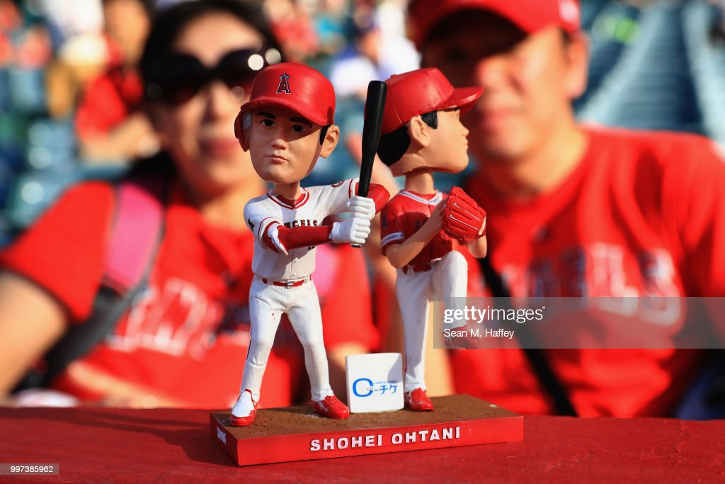 A detail of the Shohei Ohtani #17 of the Los Angeles Angels of Anaheim bobblehead that was given to fans prior to a game against the Seattle Mariners at Angel Stadium on July 12, 2018 in Anaheim, California.