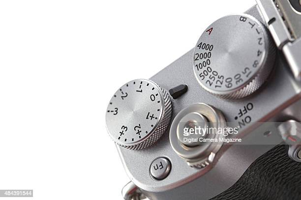 Detail of the shutter speed and exposure dials on a Fujifilm X100T compact system digital camera taken on December 12 2014