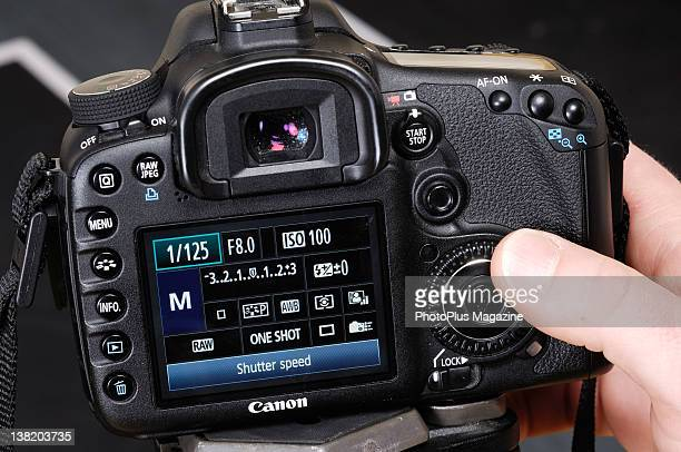 Detail of the shutter speed settings on the LCD screen of a Canon DSLR taken on February 27 2006