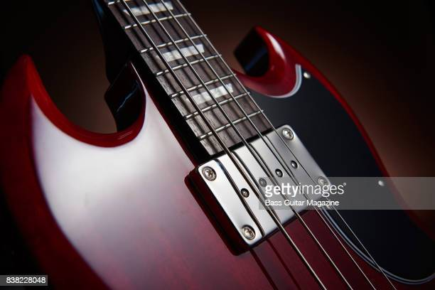 Detail of the Sidewinder pickup on an Epiphone EB3 electric bass guitar taken on December 14 2016