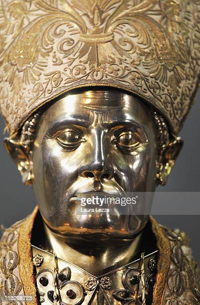 A detail of the silver bust of San Gennaro during a ceremony on the day of the blood miracle at Naples Cathedral on April 30 2011 in Naples Italy...