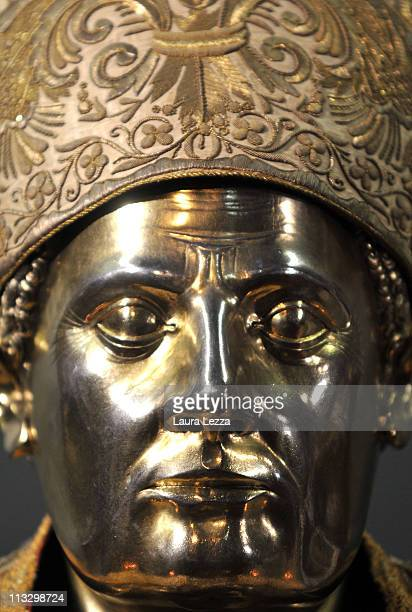 Detail of the silver bust of San Gennaro during a ceremony on the day of the blood miracle at Naples Cathedral on April 30 2011 in Naples Italy...