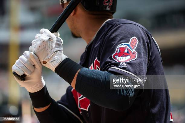 Detail of the sleeve patch of Chief Wahoo on the jersey of Michael Brantley of the Cleveland Indians against the Minnesota Twins on June 3 2018 at...