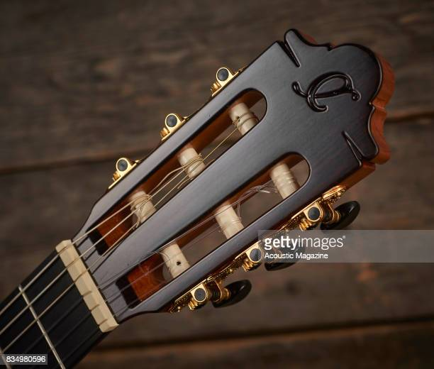 Detail of the slotted headstock on a Camps M5S flamenco guitar taken on January 18 2017