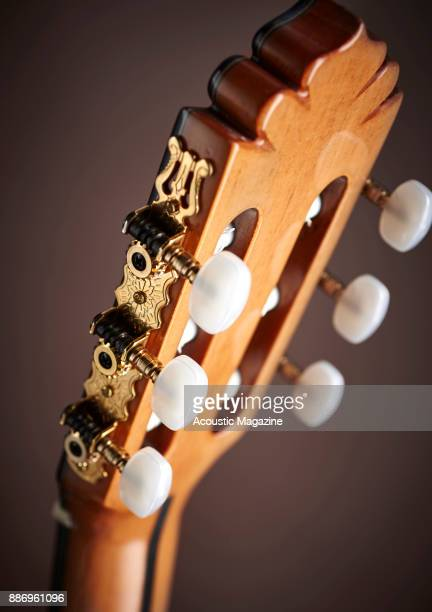 Detail of the slotted headstock on a Manuel Rodriguez Model FF flamenco classical guitar taken on February 3 2017