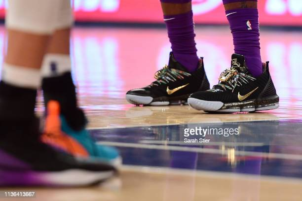 A detail of the sneakers worn by LeBron James of the Los Angeles Lakers during the first half of the game against the New York Knicks at Madison...