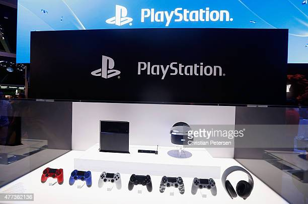 Detail of the Sony PlayStation 4 and peripherals including the virtual reality 'Project Morpheus' during the Annual Gaming Industry Conference E3 at...