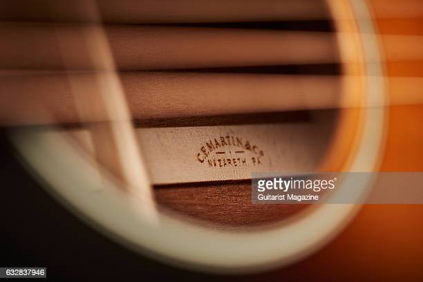 Detail of the sound hole on a Martin 17 Series acoustic guitar taken on March 24 2016