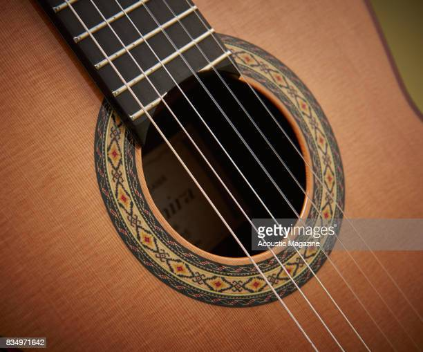 Detail of the sound hole on an Admira A25 classical guitar taken on December 14 2016