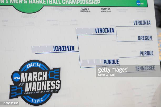 A detail of the South Region bracket after the Virginia Cavaliers defeated the Purdue Boilermakers 8075 in overtime of the 2019 NCAA Men's Basketball...