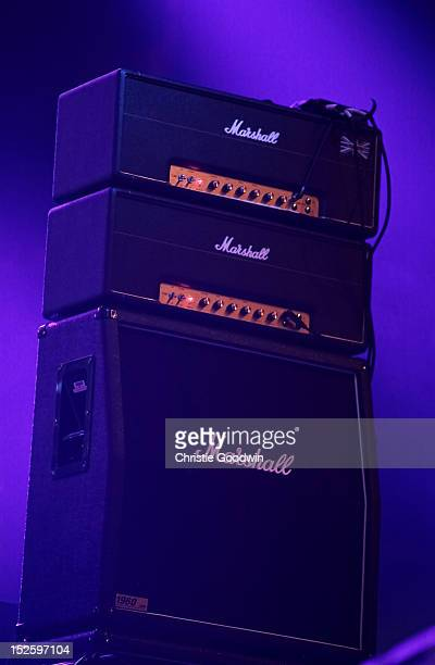 Detail of the stage during the Marshall 50 Years of Loud concert celebrating Marshall Amplifiers 50th anniversary at Wembley Arena on September 22...