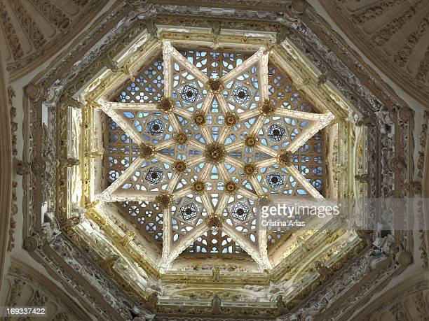 Detail of the starry vault of the dome of the cathedral of Burgos by the architect Juan Vallejo completed around 1568 replacing an earlier Juan de...