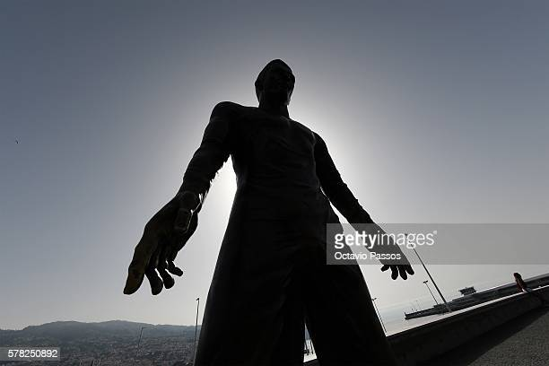 Detail of the statue of Cristiano Ronaldo in front of the new CR7 Museum on July 21 2016 in Funchal Madeira Portugal