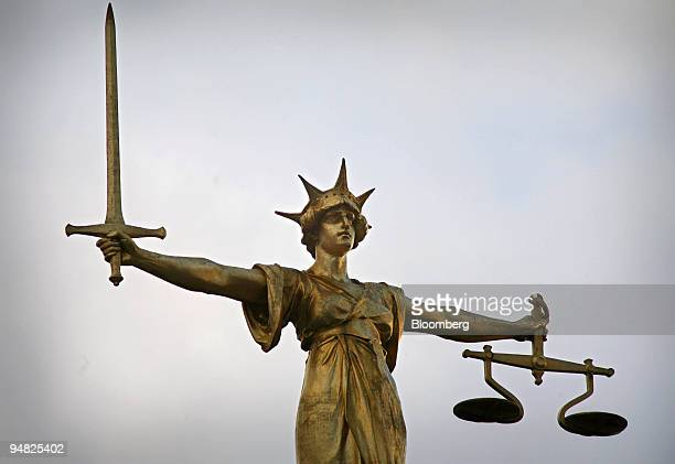 A detail of the Statue of Justice seen on the roof of the Central Criminal Court or Old Bailey in London Thursday January 6 2006