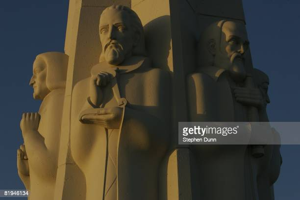 A detail of the statues of Isaac Newton Johannes Kepler and Galileo on the Astronomers Monument at the Griffith Observatory on June 21 2007 at...