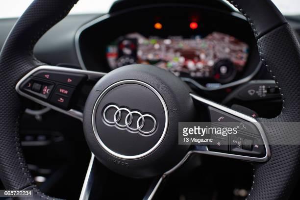 Detail of the steering wheel in an Audi TT 20 TFSI Quattro S Line taken on July 6 2016