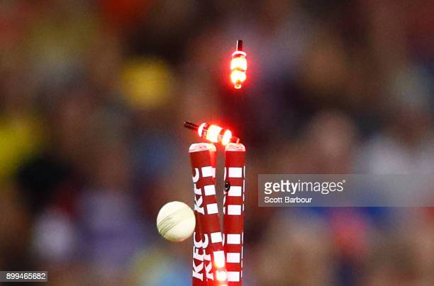Detail of the stumps as Tim Ludeman of the Renegades is bowled out as he tries to play a ramp shot during the Big Bash League match between the...