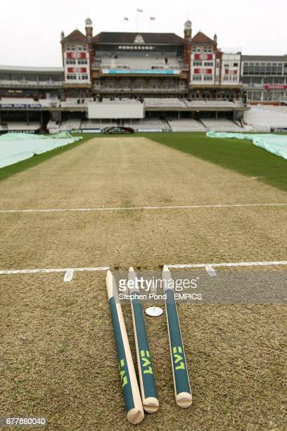 Detail of the stumps waiting to be place into the crease before the start of play at The Kia Oval