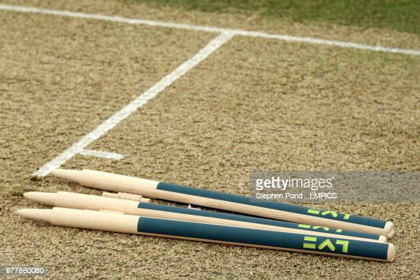 Detail of the stumps waiting to be place into the crease before the start of play