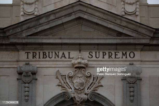 A detail of the Supreme Court during the trial of Catalan separatist leaders on February 12 2019 in Madrid Spain The trial of 12 Catalan separatist...