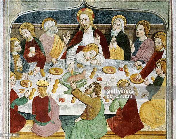 Detail of the table set for the Last Supper fresco by Giovanni Canavesio in the NotreDame des Fontaines Chapel La Brigue France 15th century