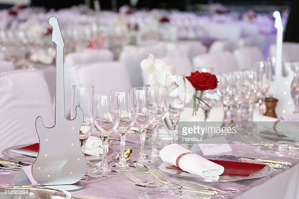 Detail of the tables laid for dinner at the Monaco Red Cross Ball under the Presidency of HSH Prince Albert II in the Salles des Etoiles at the...