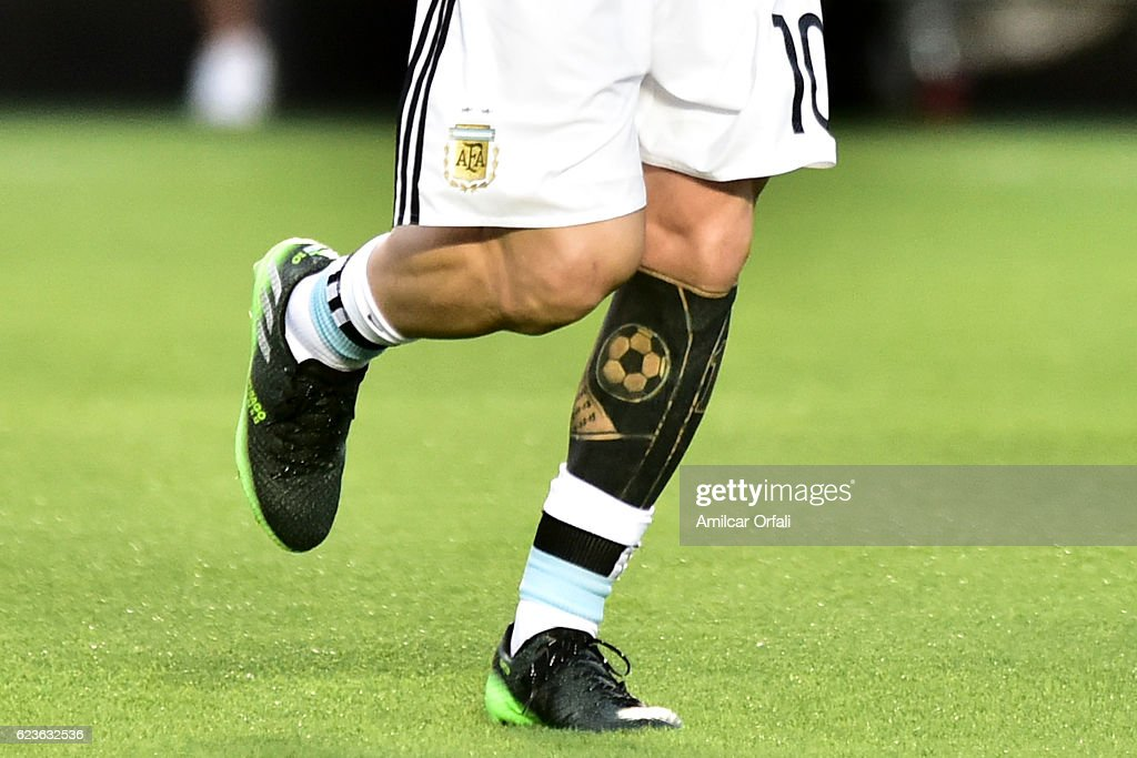 Detail of the tattoo of Lionel Messi of Argentina prior a match between Argentina and Colombia as part of FIFA 2018 World Cup Qualifiers at Bicentenario de San Juan Stadium on November 15, 2016 in San Juan, Argentina.