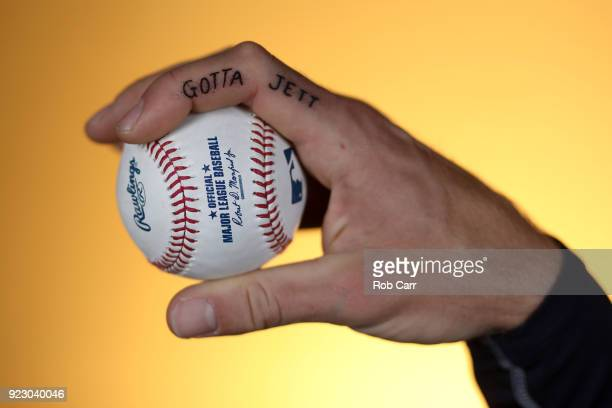 A detail of the tattoo on pitcher Mike Foltynewicz of the Atlanta Braves hand during during photo days at Champion Stadium on February 22 2018 in...