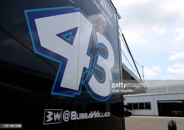 A detail of the team hauler for Bubba Wallace driver of the Victory Junction Chevrolet as it sits in the garage area prior to the NASCAR Cup Series...