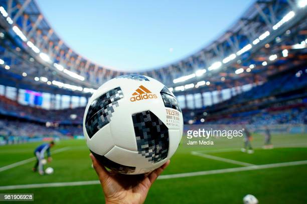 Detail of the Telstar ball prior to the 2018 FIFA World Cup Russia group D match between Argentina and Croatia at Nizhniy Novgorod Stadium on June 21...