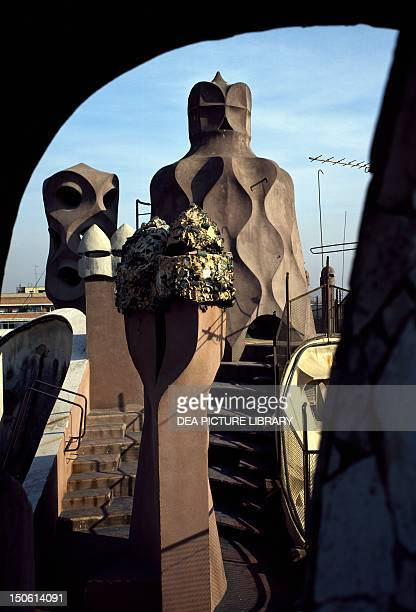 Detail of the terrace Mila House known as La Pedrera Barcelona by architect Antoni Gaudi Spain 20th century