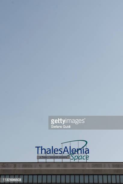 Detail of the Thales Alenia Space logo on the top of the building during the press presentation for the International Space Station at Thales Alenia...