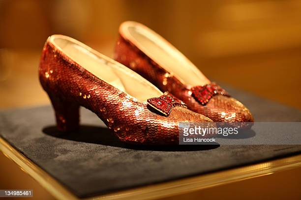 Detail of the The Wizard of Oz Ruby Red Slippers on view at the Plaza Athenee on December 5 2011 in New York City