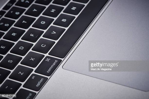 Detail of the Thunderbolt 3 ports on an Apple MacBook Pro 13inch 2GHz laptop computer taken on November 10 2016
