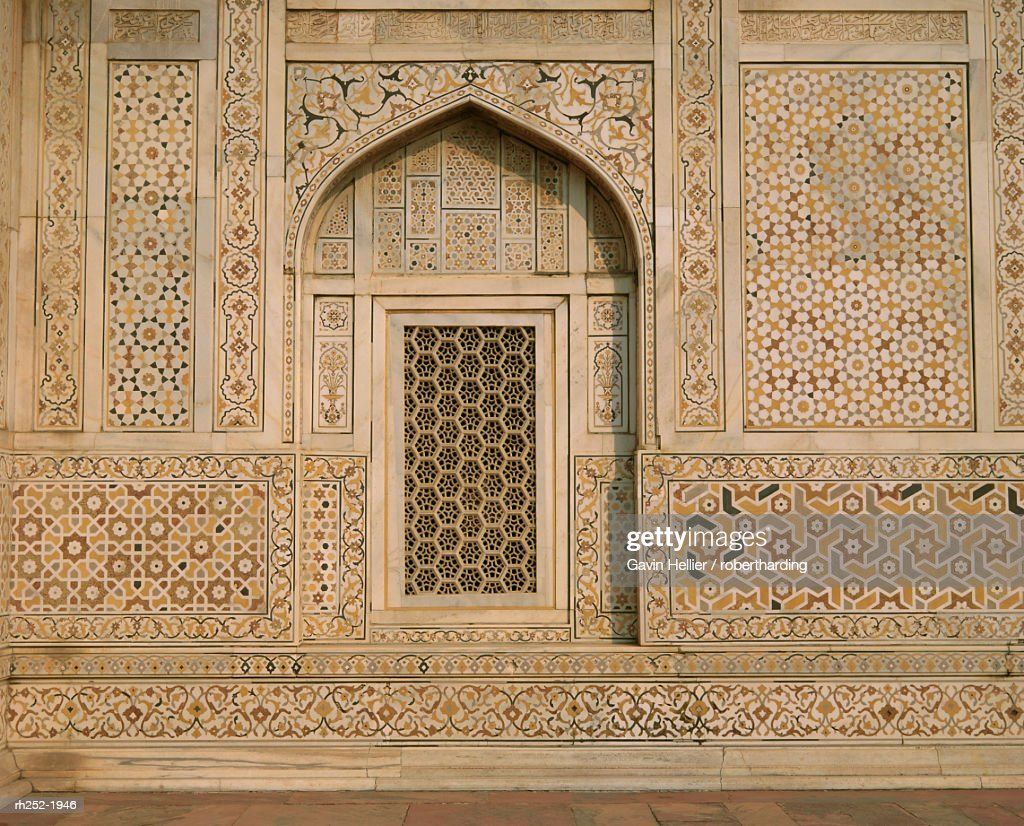 Detail of the tomb of Itmad ud Daulah (Itimad-ud-Daulah), Agra, Uttar Pradesh State, India : Foto de stock